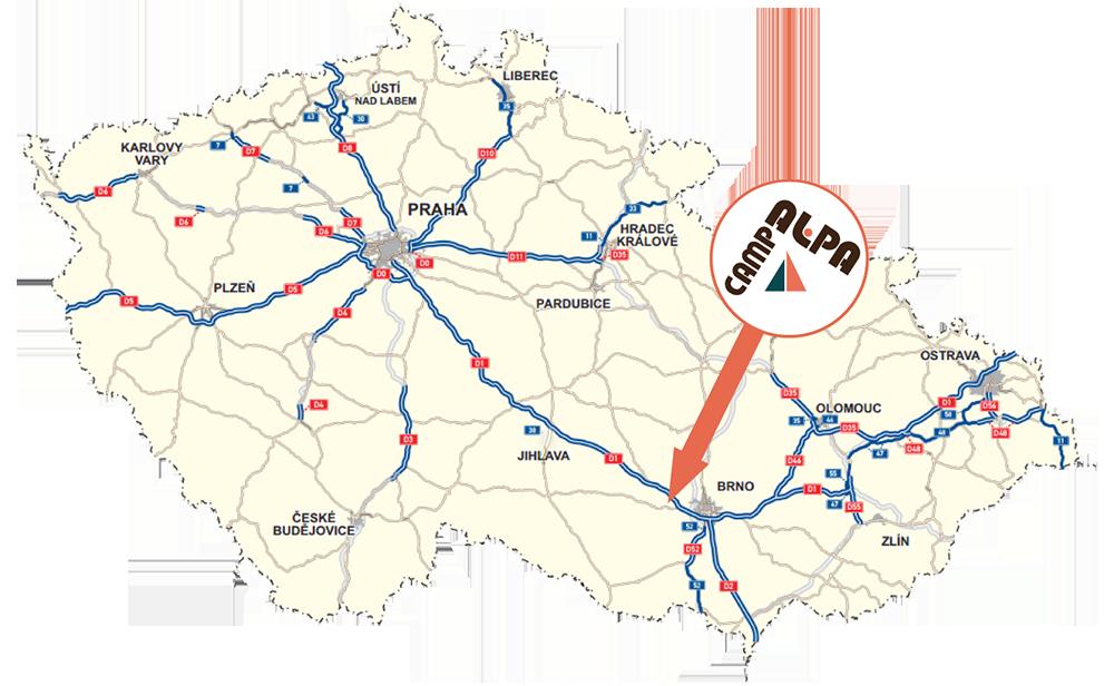 Umístění kempu uBrna, vblízkosti dálnice D1